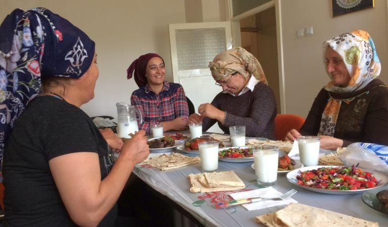 For Designer Tuula Pöyhönen it was very important to get to know Syrian refugee women, to eat the same food and share some part of their life. To learn from each other. Photo Timo Junttila