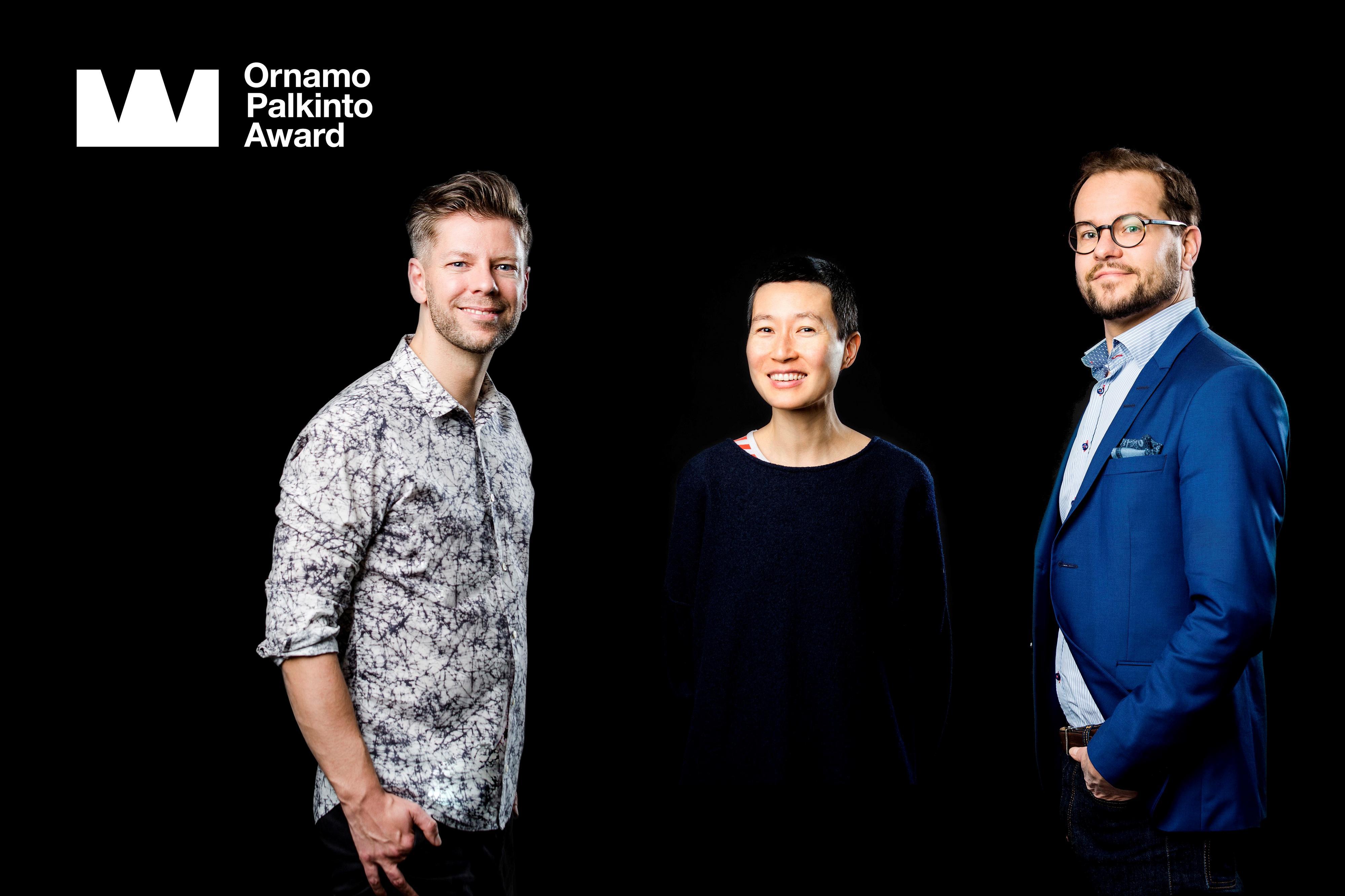 Ornamo-palkinto 2017. Ehdokkaat Mikko Koivisto, Aamu Song ja Antti Olin. Kuva Anni Koponen.