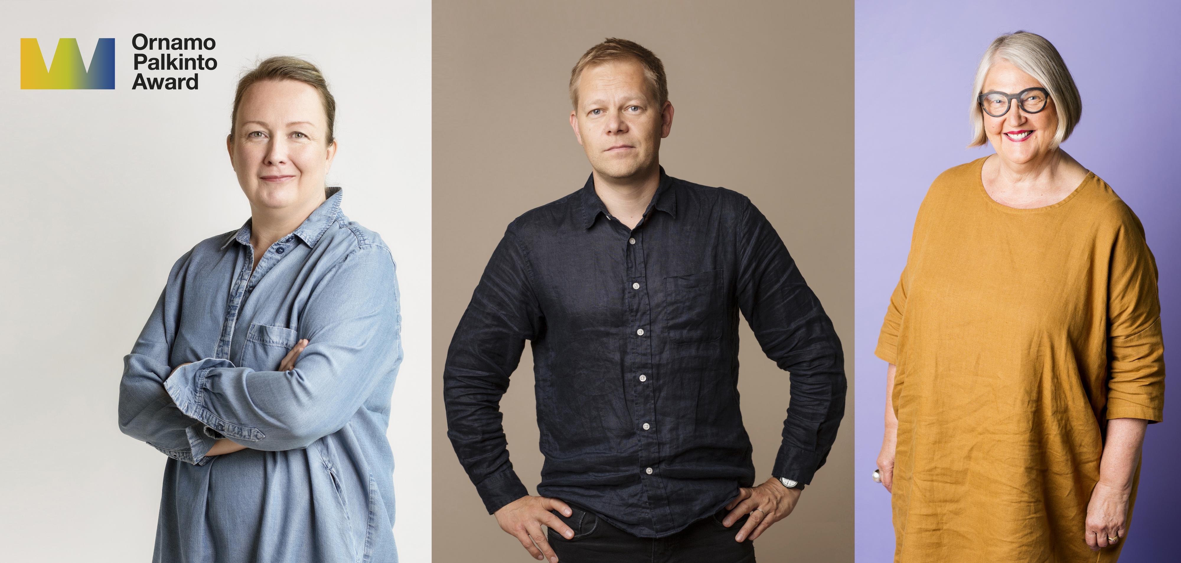 Ornamo-palkintoehdokkaat 2019: Minna Peltomäki, Ville Kokkonen ja Maija Arela. Kuva: Anni Koponen.